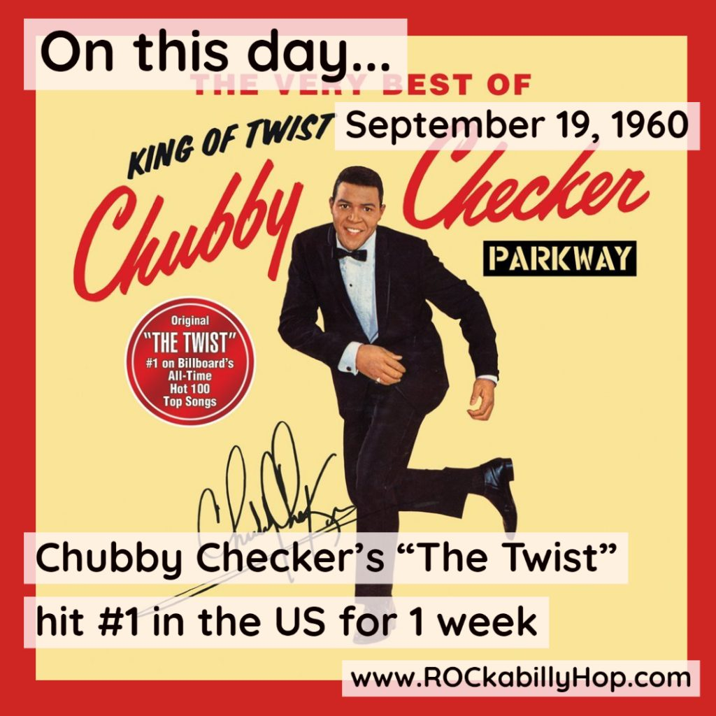 """September 19, 1960 - Chubby Checker's """"The Twist"""" hit #1 in the US for 1 week. Originally recorded by Hank Ballard and the Midnighters, Checker's cover version of the song gave birth to the Twist dance craze causing it to hit #1 again in 1962.#ROCkabillyHop @chubby_checker #Twist #ChubbyChecker https://amzn.to/3kkL9k9"""